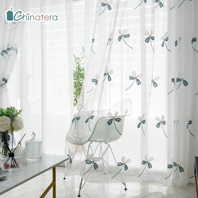 [Chinatera] 100X250 Cm Cỏ Ba Lá Hiện Đại Kiểu Bắc Âu Lá Windows Rèm Vải Tuyn Phòng Ngủ Phòng Khách Sợi Màn Mỏng Màn Che