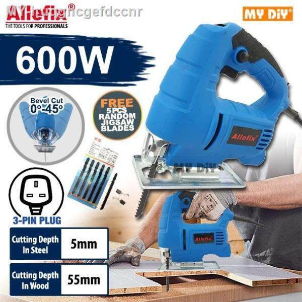 DIY Online4u - ALLEFIX JIGSAW MACHINE 600W High Speed JIG SAW Cutter Machine Cut 0°-45° SPEED CONTROL Foc 5PCS BLADE