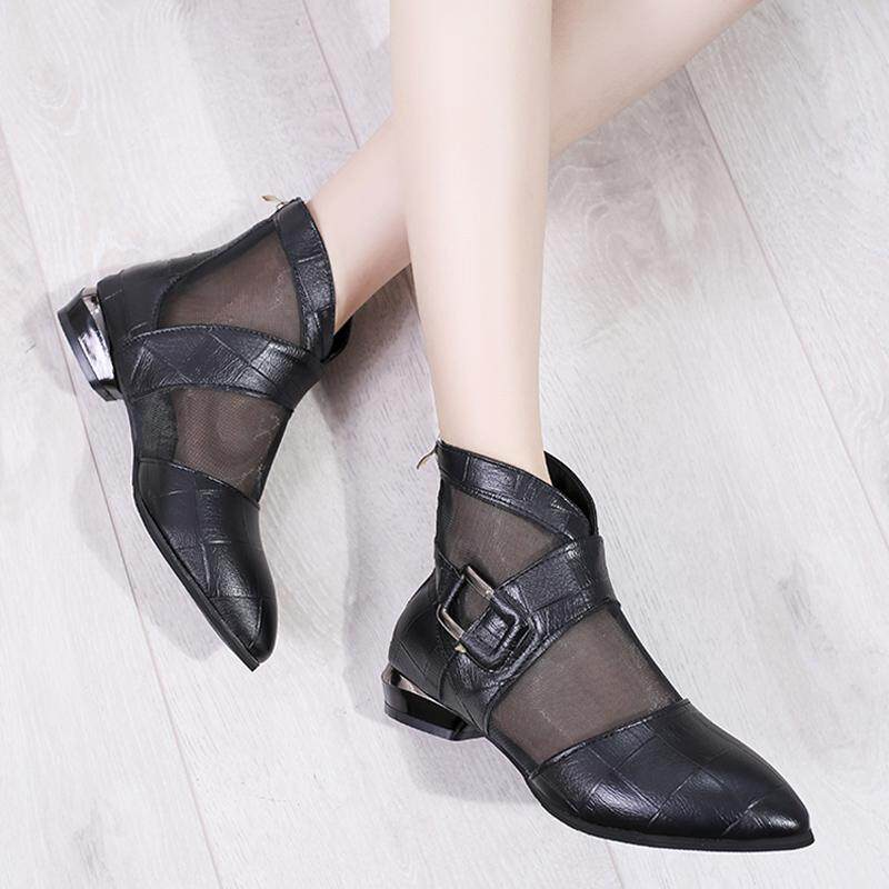 c17acd67d Fashion Women Leather Sandals Low Heeled Shoes Pointed-toe Casual Shoes  Breathable Mesh Shoe