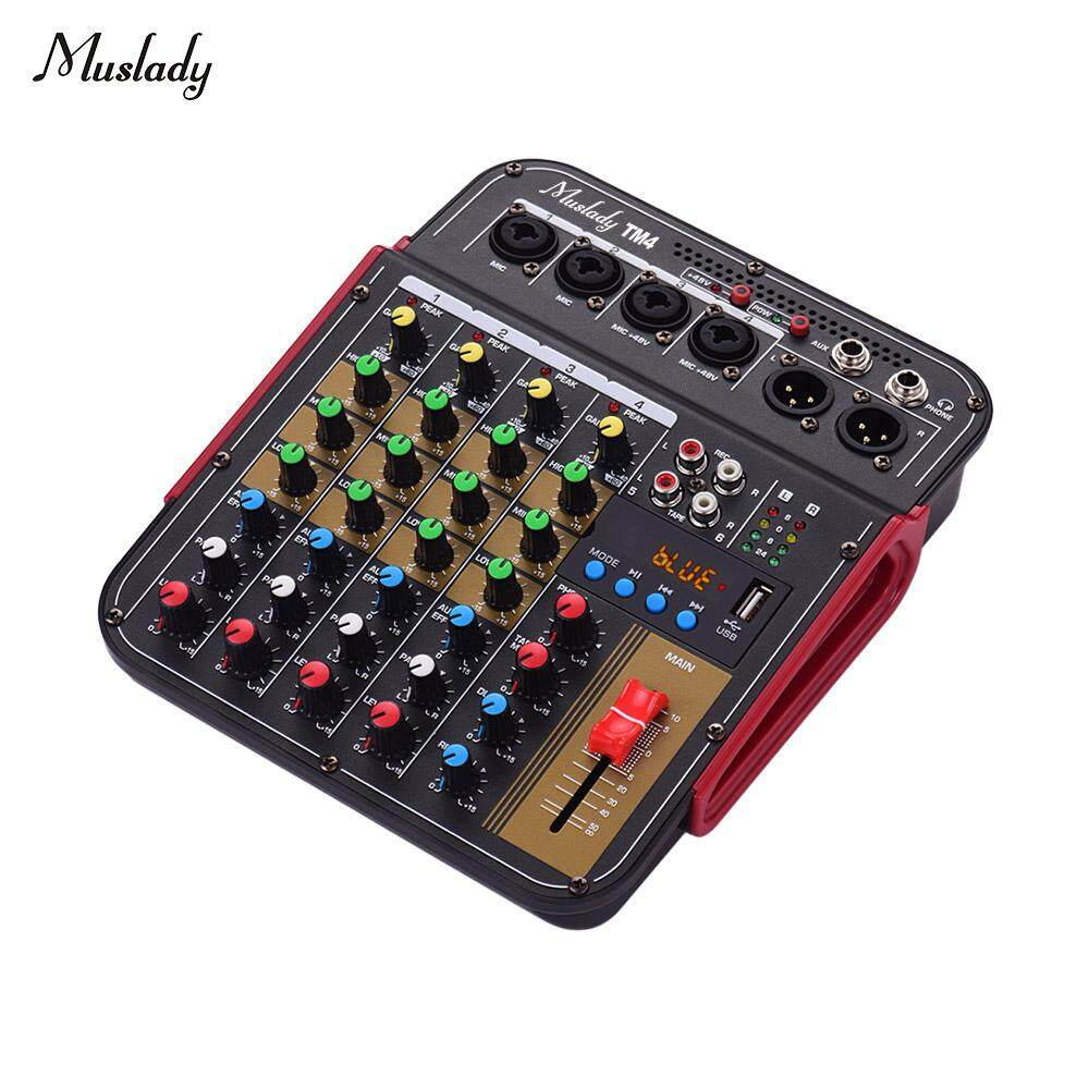 Muslady TM4 Digital 4-Channel Audio Mixer Mixing Console Built-in 48V Phantom Power with BT Function Professional Audio System for Studio Recording Broadcasting DJ Network Live