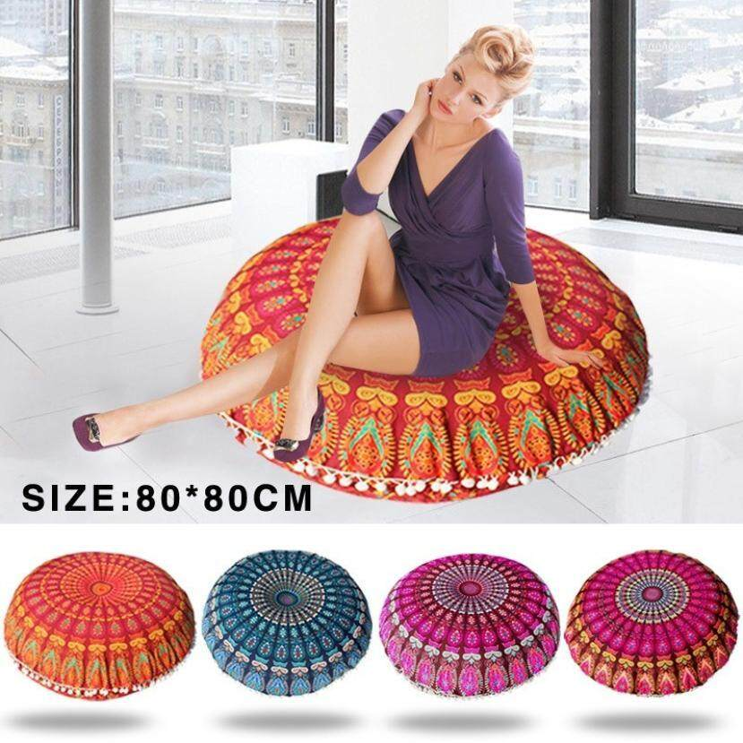High-quality Multifunctional Durable Decorative Indian Mandala Floor Pillowcase Round Bohemian Cushions