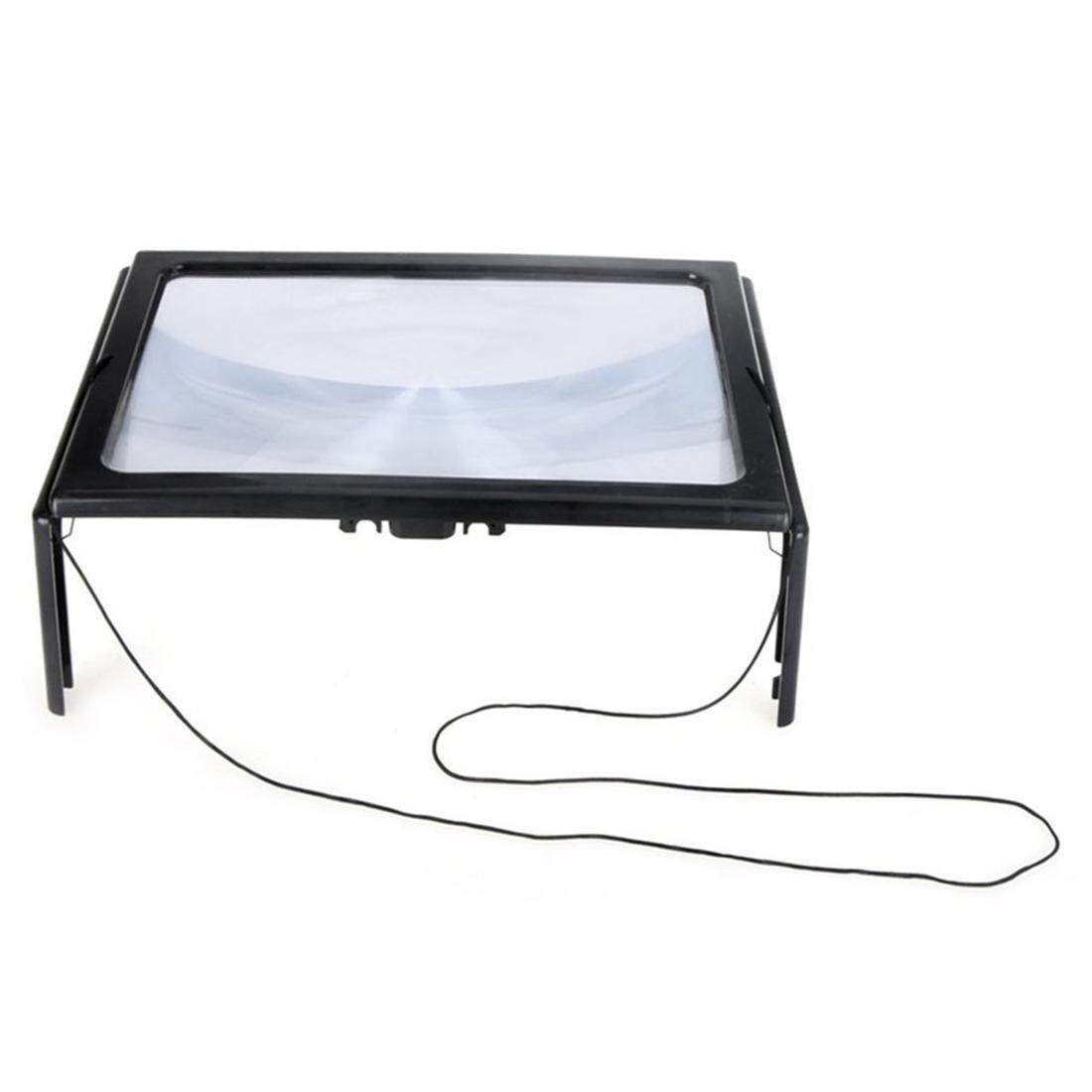 Full Page PVC Reading Magnifier Foldable Magnifying Loupe with 4 LED Lights