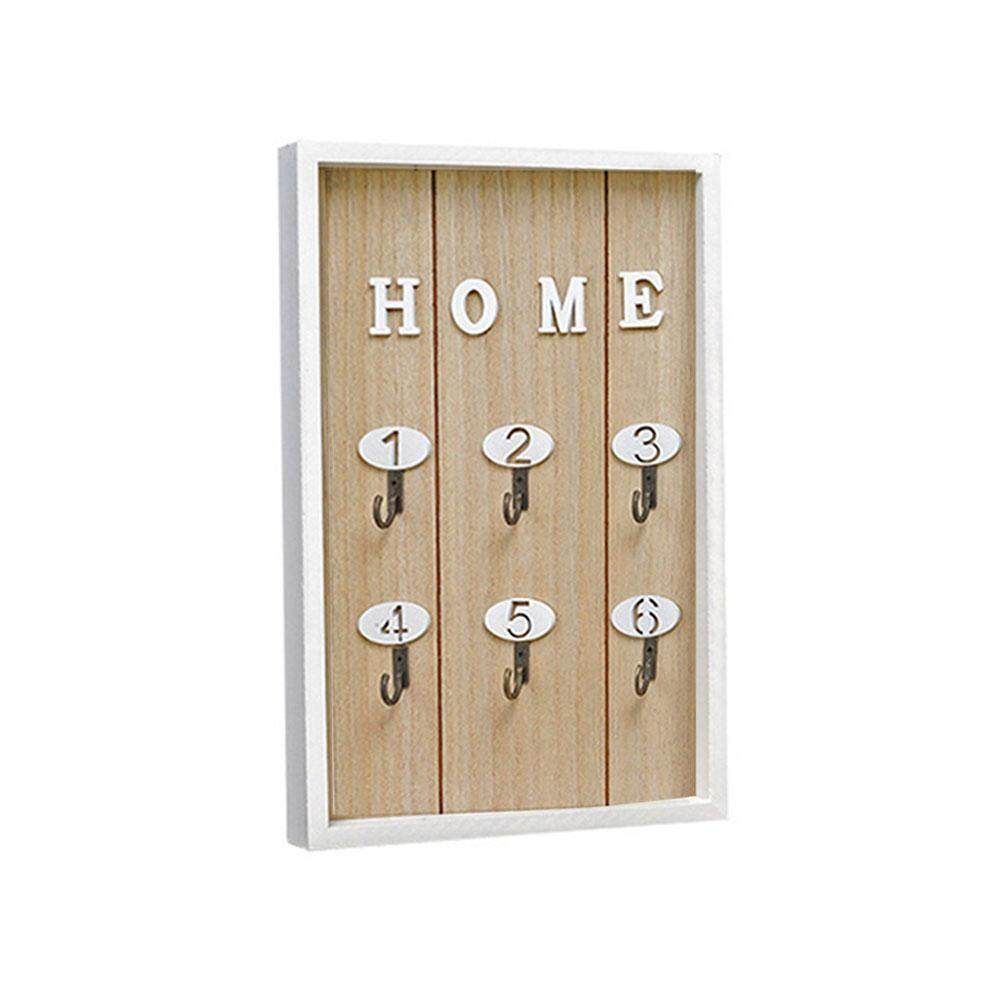 Wall Mounted Key Holder Wooden Key Hanger with 6 Hook Wall Decorative Holder Minimalist Wall Hook