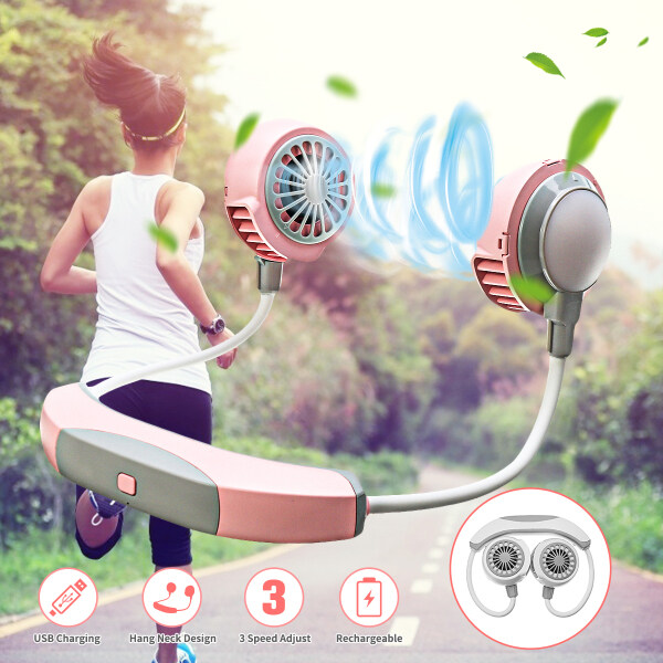 USB Portable Lazy Neck Fan Neckband Rechargeable Sport Hanging Dual Cooling
