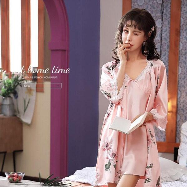 Nơi bán Sexy Bộ Đồ Lót, Phụ Nữ Ngủ Mặc, 2 Mảnh Thiết Lập Áo + Ăn Mặc Loungewear YFD3461