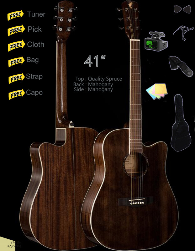 41 Inch Spruce top Acoustic Guitar Cutaway Starter Pack Folk Guitar Package Bundle Malaysia