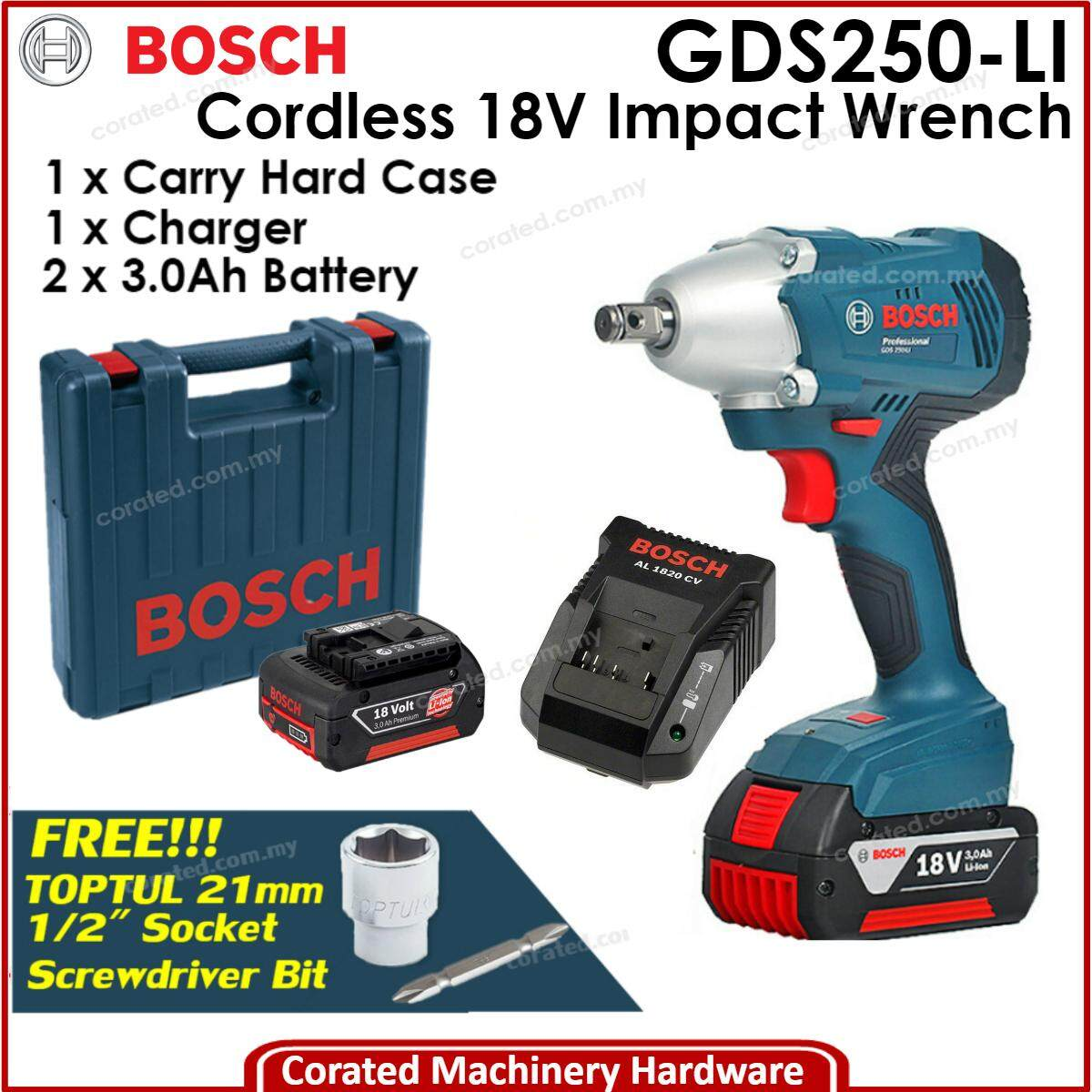 [CORATED] Bosch GDS 250-LI 18Volt Cordless Impact Wrench GDS250-LI GDS250