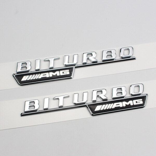 1 Cặp Biểu Tượng Chữ Phẳng Logo BITURBO AMG Mới Cho Mercedes Benz 2016-2020 Miếng Dán Cốp Sau Huy Hiệu Bên Cản Xe Bóng Bạc