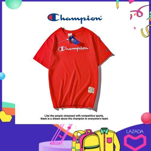 e2c782fcaa Tide Brand Cham Pion T-shirt O Neck Sleeve Short-sleeved Letter Embroidery  Unisex