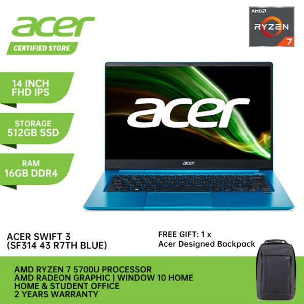 Acer New Laptop Swift 3 R7TH ( IPS 14 FHD / AMD Ryzen 7 5700U / 16GB Ram / 512GB PCIE NVME SSD / AMD RADEON / Window 10 + Microsoft Office Home & Student / 2 Years Warranty) Malaysia