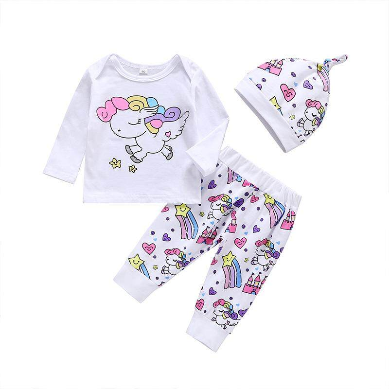 32e78e81e601e Newborn Baby Girl Clothes Sets Infant Fashion Unicorn Tops+Pants+Hat 3PCS  Baby Girl Clothing