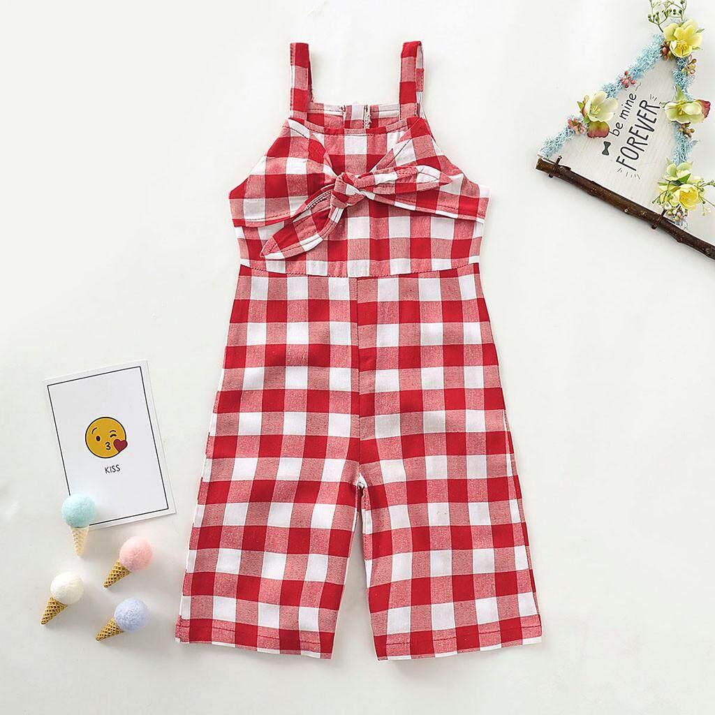 74f8281423b76 LONSANT Summer Toddler Baby Girls Sleeveless Bow Plaid Print Romper Jumpsuit