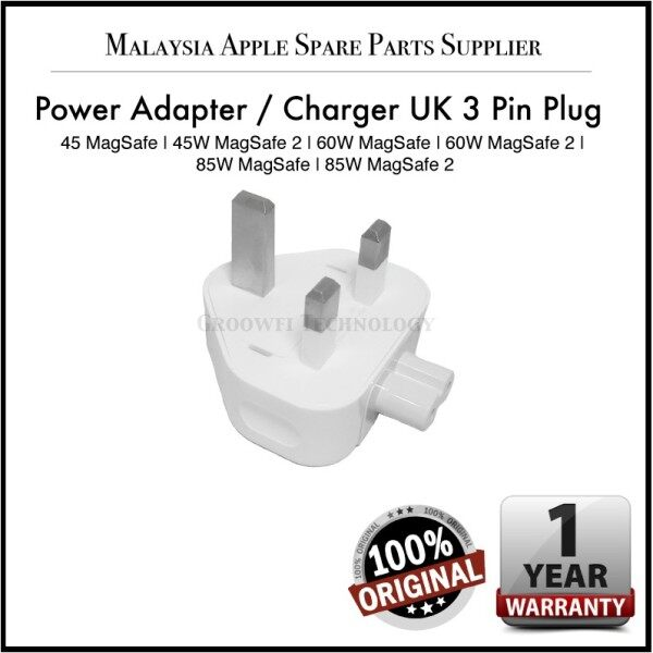 New Original Apple Power Adapter / Charger / Three Pin UK Plug Head for 45W 60W 85W MagSafe MagSafe 2
