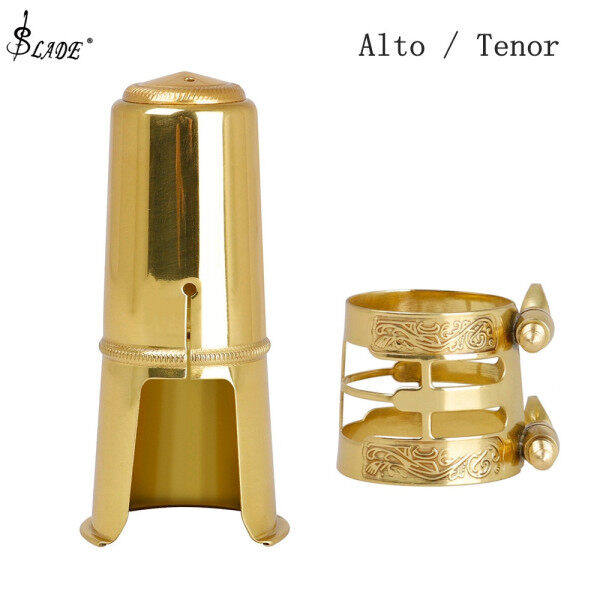 SLADE Alto Tenor Saxophone Mouthpiece Cap & Carved Metal Ligature Brass Gold Plated Protective Replacement Cap Malaysia
