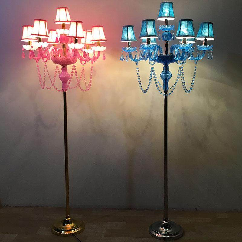 European Minimalist Crystal Floor Lamp for Living Room Bedroom Hotel Wedding Hall Aisle Without Lampshade