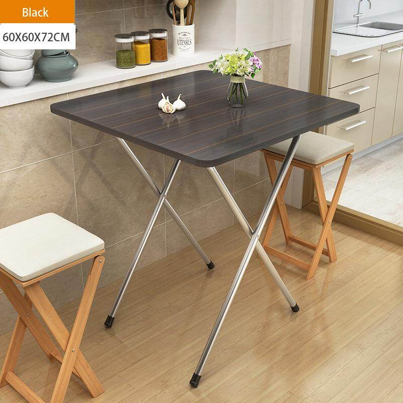 60x60x72cm/L W H, Folding Square Tbale, Wood Panel, Steel Frame, Snack Table Set,Drop-leaf Table, Folding Table, Drop-leaf Table, 4 Person, 6 Person