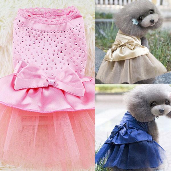 Đầm Nơ Cún Con Lấp Lánh Dễ Thương Cho Thú Cưng Đầm Công Chúa Kim Cương Giả Đầm Dự Tiệc Cho Chó Váy Cưới Quần Áo Thú Cưng
