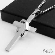 ❤Trang Sức Skute Vintage Cross Mặt Dây Chuyền Nhẫn Thép Không Gỉ Phụ Kiện Vòng Cổ Nam Trang Sức Thời Trang (Chỉ Có Mặt Dây Chuyền)