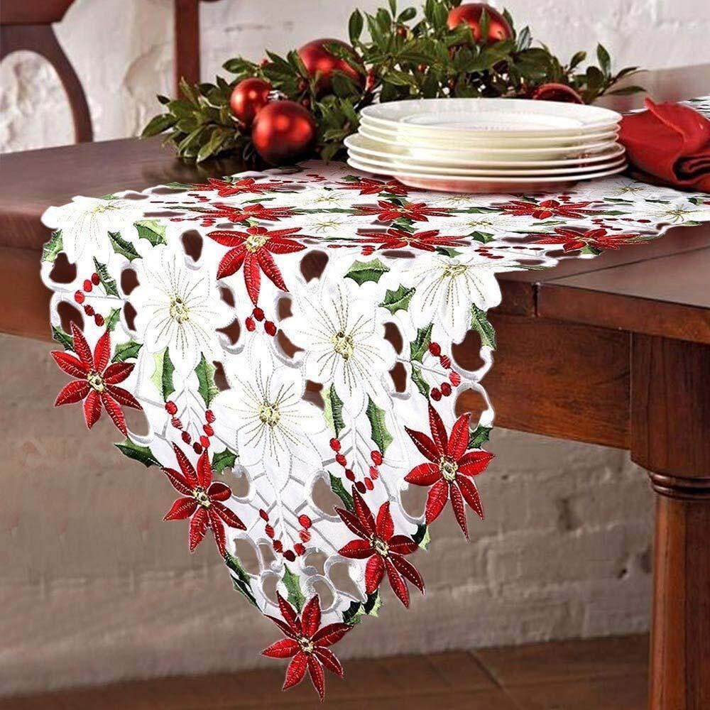 Free Shipping Christmas Embroidered Table Runner Poinsettia Holly Leaf Table Linens Decoration