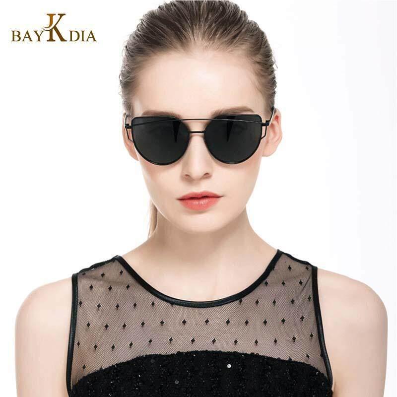 Baykdia Sunglasses For Women, Cat Eye Mirrored Flat Lenses Metal Frame Sunglasses Uv400 By Red Maple Leaf.