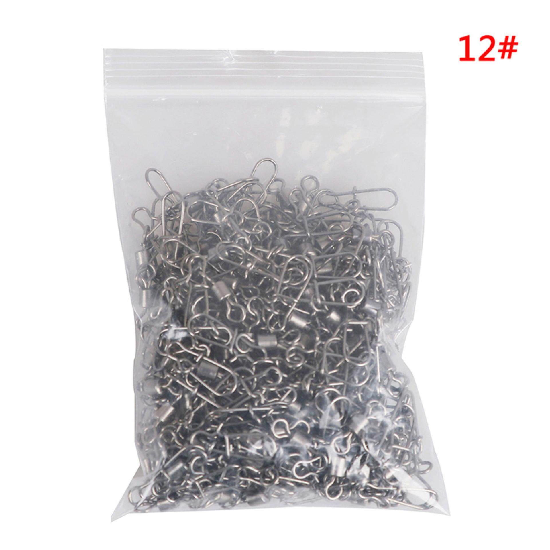 200pcs Stainless Rolling Swivel Nice Snap Lure Connector Fishing Swivels Snap AB
