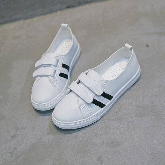 Giày lười nữ màu trắng phối tất cả, giày sinh viên thoáng khí Velcro giá rẻ