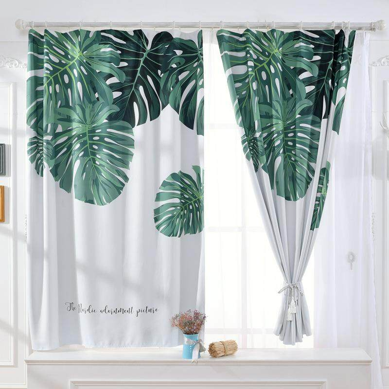 1.3 x 1.8m 1Pc Home Decoration Curtain Banana Leaf Pattern Window Curtain Rod Pocket Drape Curtains