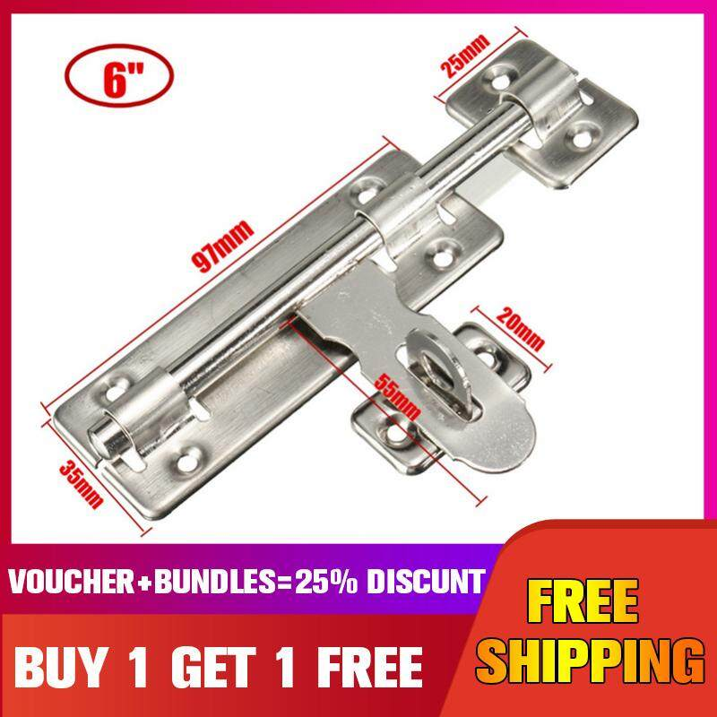 【Buy one get one free】6 inches -- Stainless steel Door Bolt Lock Latch Slide Barrel Bolt Clasp Set Long