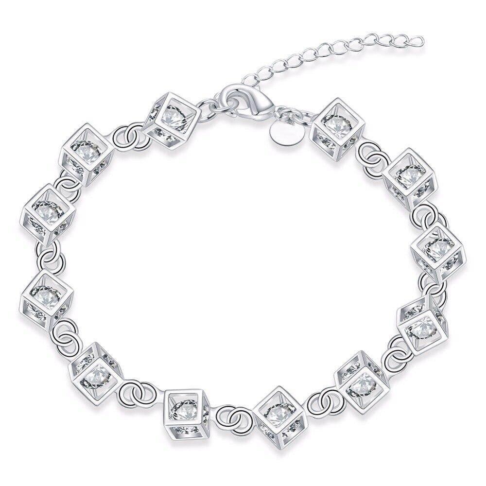 8dca001b294 925 Sterling Silver Luxury Austrian Crystal Cube Ladies Charm Bracelet  Exquisite Fashion Versatile Jewelry
