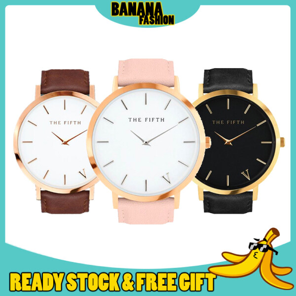 [HOTTEST WATCH] The Fifth Super Thin Rose Gold Leather Simple Fashion Women Ladies Watch Jam Tangan Wanita Perempuan Malaysia