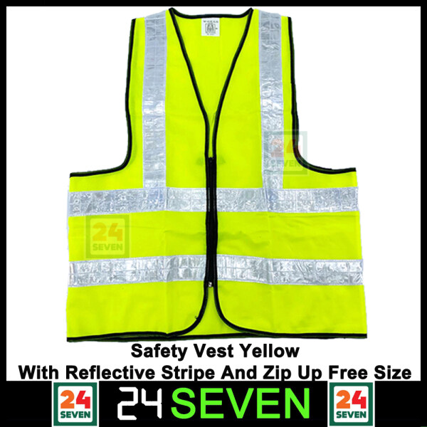 TWENTYFOURSEVEN - Safety Vest Yellow With Reflective Stripe And Zip Up Free Size