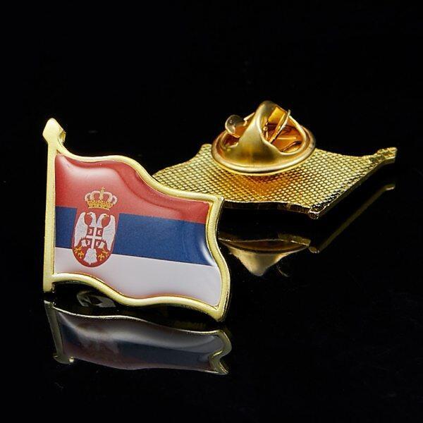 Serbia Người Đàn Ông Của Vàng Cổ Áo Thanh Cờ Kẹp Gài Ve Áo Nơ Gắn Áo Sơ Mi Cà Vạt Ghim Kẹp Clasp Ve Áo Trâm Cài Dạng Cây