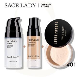 SACE LADY Set Make Up Tahan Lama, Kosmetik Wajah Dasar Bedak Tabur Kendali Minyak + Concealer Cakupan Penuh + Concealer Matte Tahan Lama thumbnail
