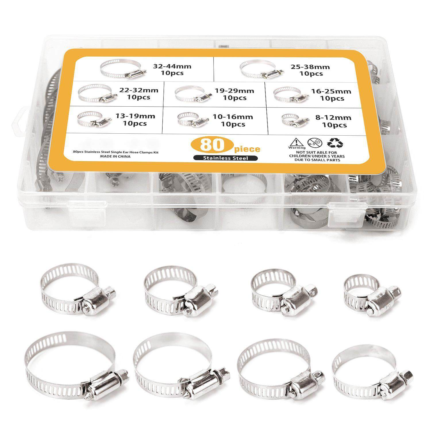 80 Pieces Adjustable 5/16-1-23/32 inch Range Worm Gear Hose Clamps Assortment Kit, 8 Size,One Dual-purpose Screwdriver Included