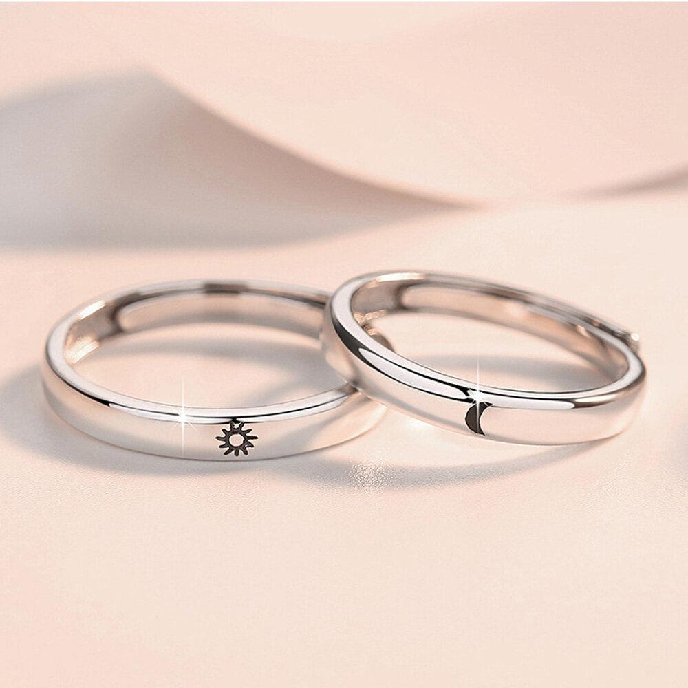 1 Cặp Nhẫn Mặt Trăng Che Nắng Tiệc Cưới Cho Nam Nữ Có Thể Điều Chỉnh Mở Tối Giản Bộ Nhẫn Ngón Tay Engagement Ring Vài Đồ Trang Sức