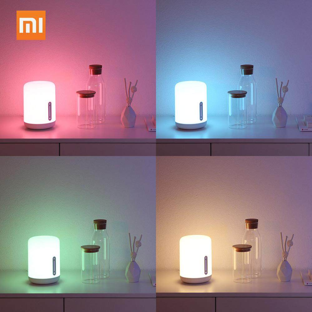 Original Xiaomi Mijia Bedside Lamp Beside Lamp 2 L-ED Smart Night Lights Baby Sleeping Light WiFi Connection BT APP Control Timing Lights Work With Mijia APP Apple HomeKit