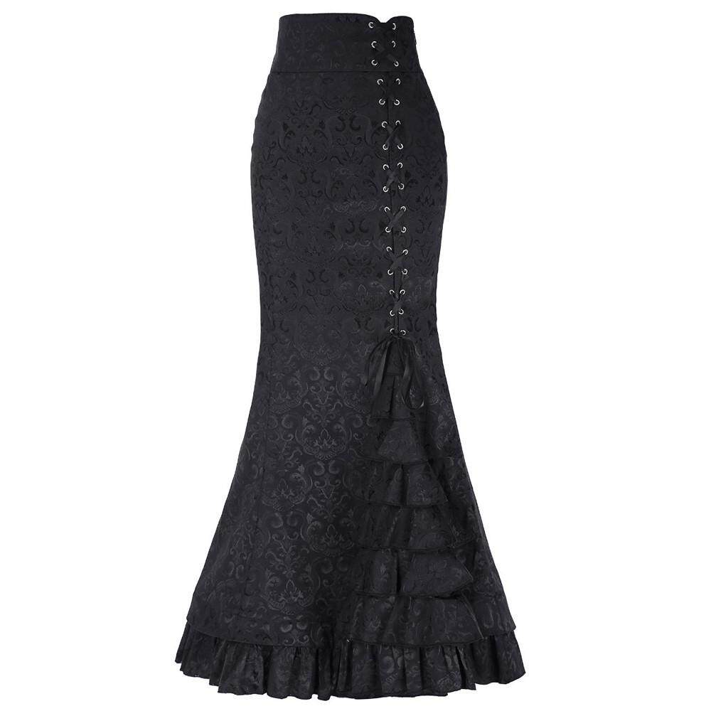f787ad03a2f Women Punk Style Retro Mermaid Skirt Vintage Long Bodycon Ruffle Fishtail  Skirt