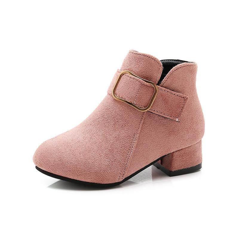 Girls shoes winter PU leather waterproof boots winter kids snow boots girls  Martin boots boots high heels British wind