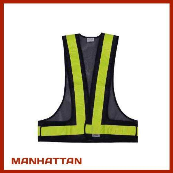 [ MANHATTAN ] SFVest High Visibility Reflective Vest Reflective Safety Strap Vests Workwear Security Working Clothes Day Night Cycling Running Traffic Warning Safety Waistcoat (Black & Yellow)