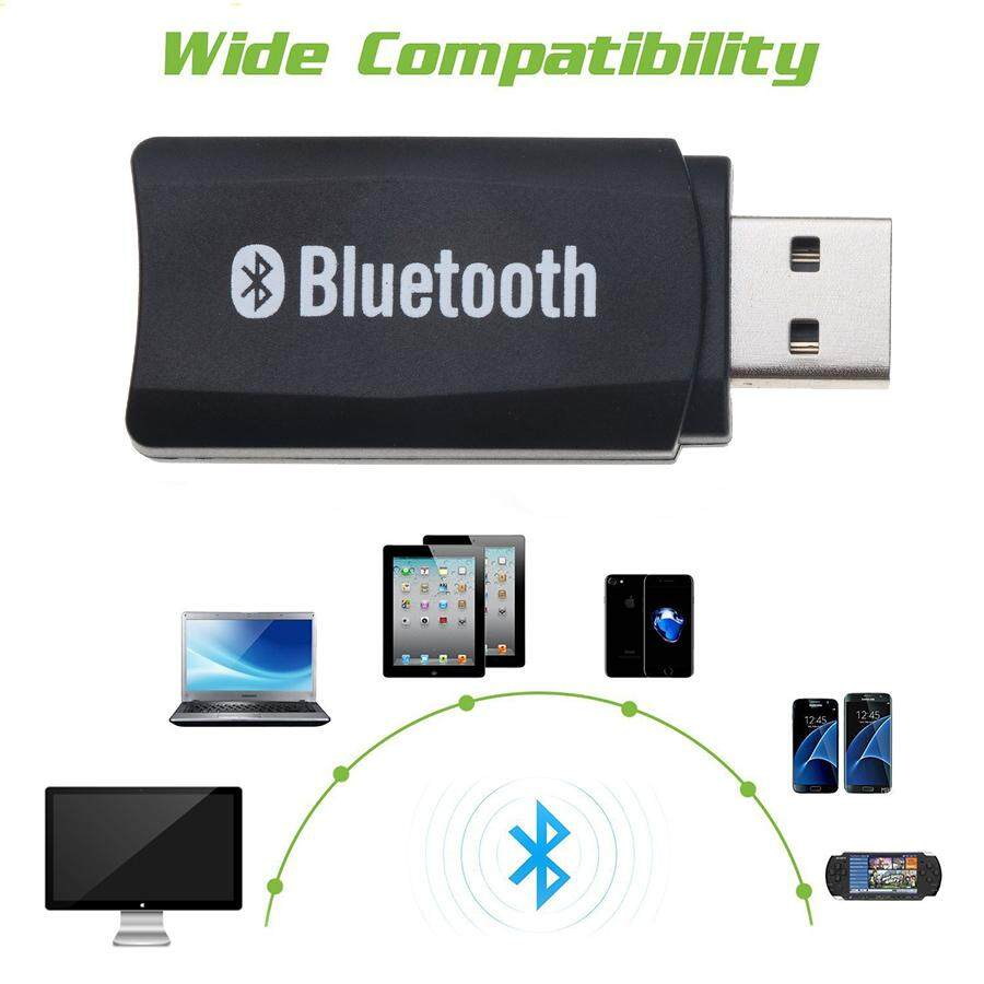Wireless Bluetooth 5.0 USB Receiver Adapter Dongle AUX with 3.5mm Audio Cable Handsfree Speaker Headphone for Car Kit