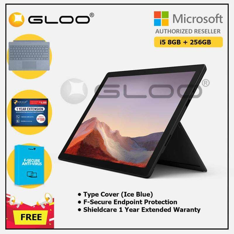 Microsoft Surface Pro 7 Core i5/8G RAM - 256GB Black - PUV-00025 + Surface Pro Type Cover [Black / Poppy Red / Ice Blue / LT Charcoal] + Shield Care 1 Year + F-Secure 1 Year Malaysia
