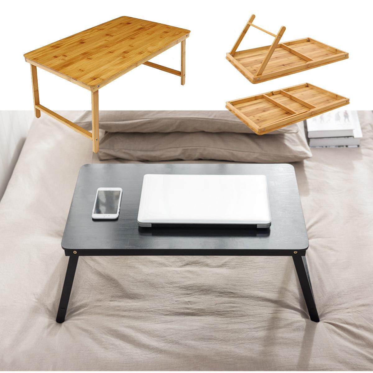 Picture of: Portable Folding Lap Desk Bamboo Laptop Coffee Tea Tray Natural Bed Table Stand