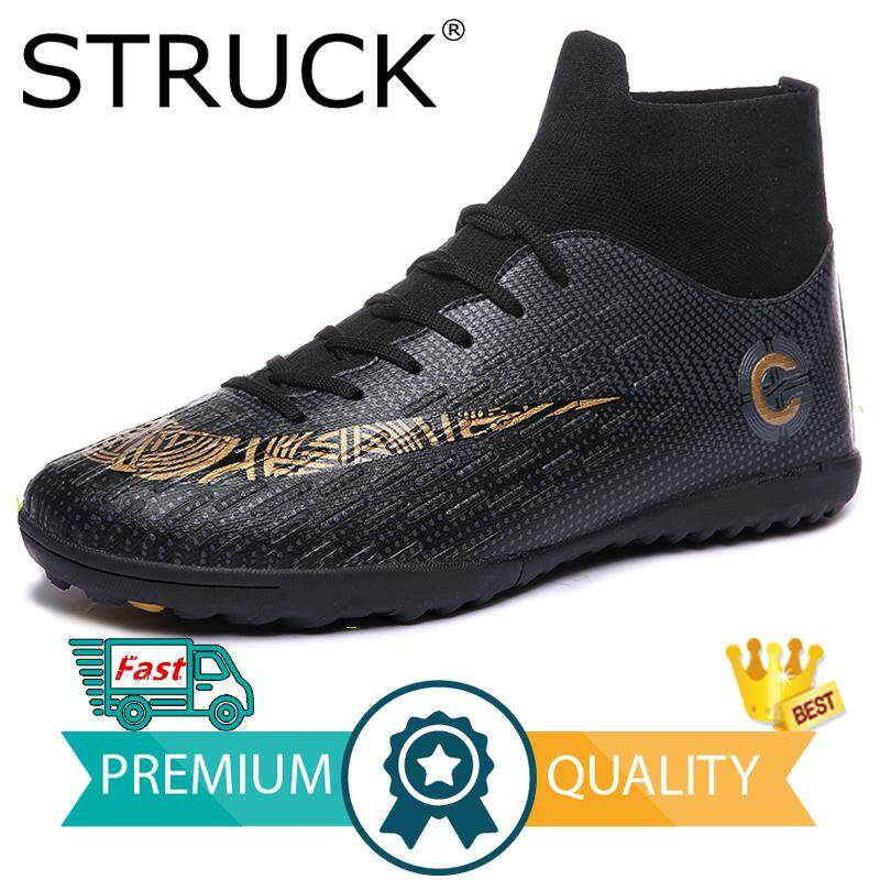 28dc2fab1be STRUCK Men s football shoes sneakers indoor turf futsal original football  boots ankle high soccer boots cleats
