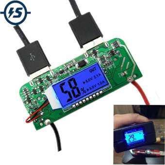 Dual USB 5V 2.1A 1A ที่ชาร์จโทรศัพท์มือถือในรถยนต์บอร์ด PCB เพิ่มพลังโมดูล LED แสดงผลสำหรับ 18650 โทรศัพท์ DIY-