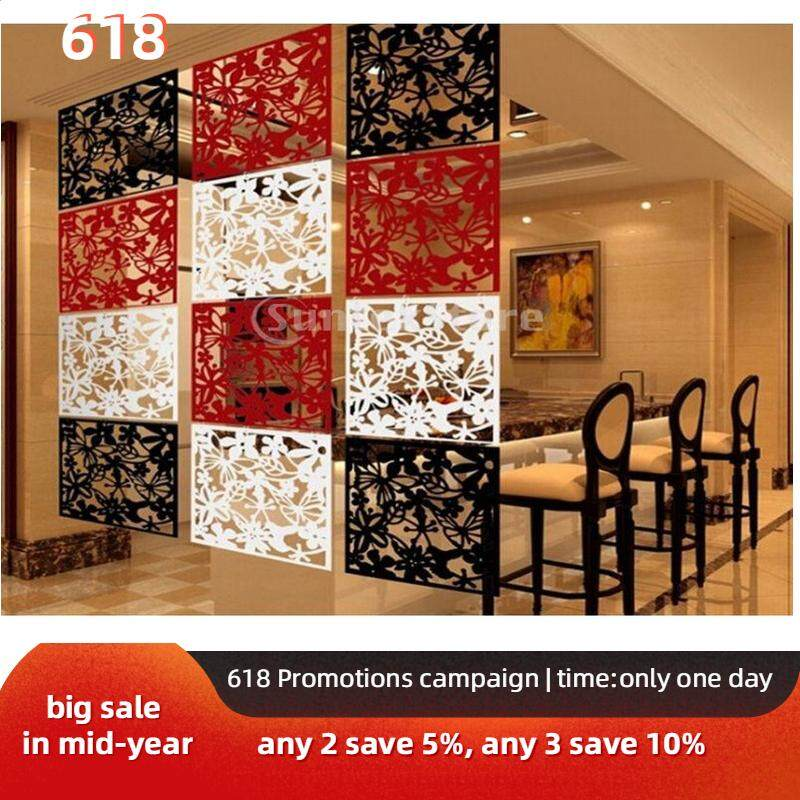 Perfk 12pcs Hanging Screen Partition Room Divider Flower Wall Sticker Art Decor White/Black/Red
