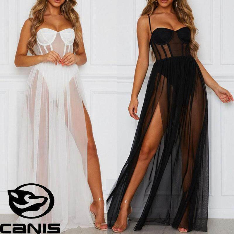 a0043679cb382 CANIS Dress Womens Stars Perspective Mesh Gauze Sleeveless Backless Party  Long