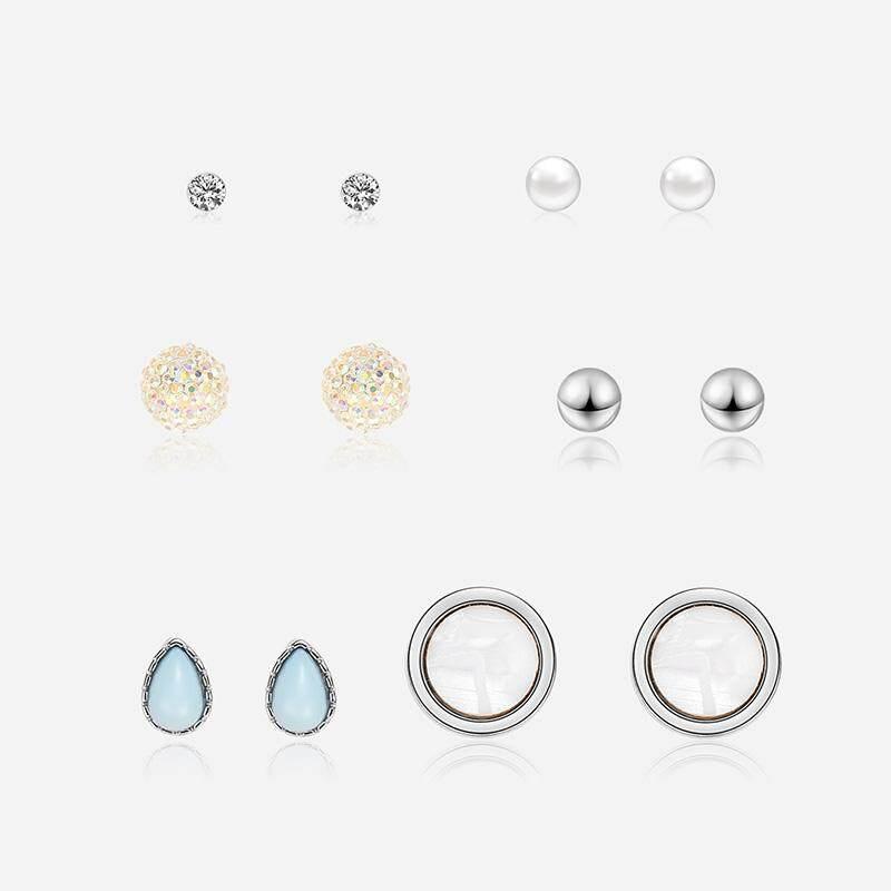 6 Pasang Logam Geometris Air Anting Gantung Mutiara Untuk Wanita Hadiah Anting-Anting Kristal Perangkat Anting-Anting By Lohobiz.
