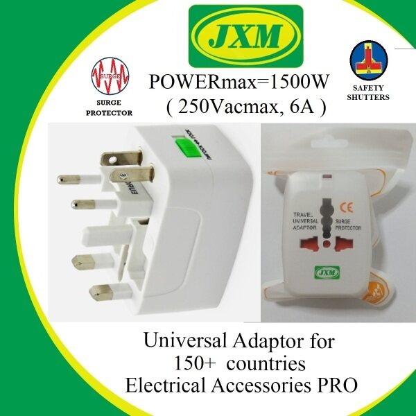 【Ready Stock】JXM Travel Adapter 10A 250V International Travel Adaptor/ Compatible for 150+ Countries