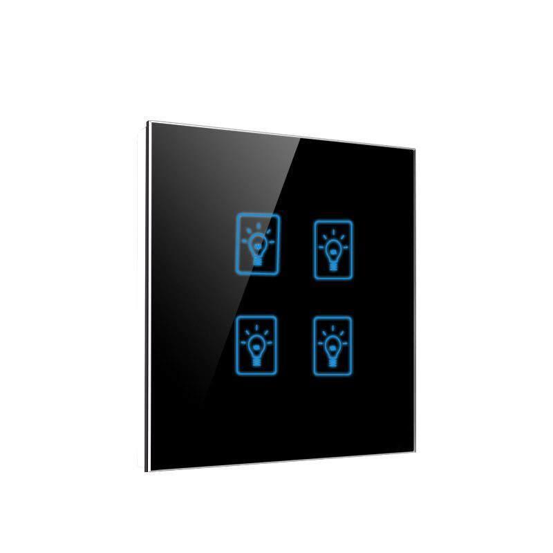 86*86mm EU UK Standard Smart Home Wall Touch Switch,4 Gang 1 Way Light Wall Tact Sensor Switch,AC 220-250V,Crystal Glass Panel,3 gang 2 way and 1 gang 1 way