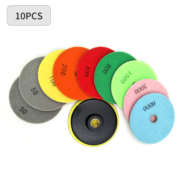 10 Piece Set Diamond Polishing Pads 4 inch Wet/Dry Granite Stone Concrete Marble